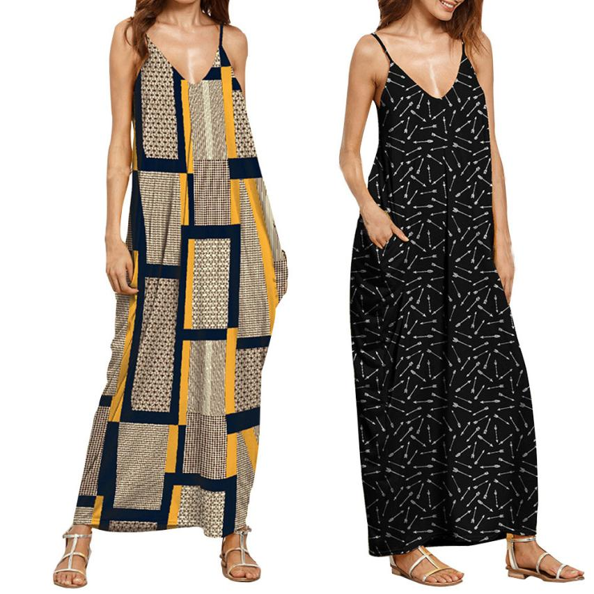 Maternity Dress Pregnant Women Dress Summer Fashion Dresses Clothes For Pregnant Women Print V Neck Sleeveless Long Dress Parent Thesis